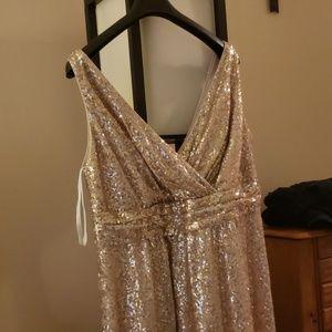 Full length gold sequin dress, David's bridal